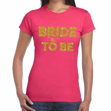 Goedkope bride to be goud fun t shirt roze voor dames