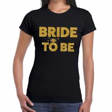Goedkope bride to be goud fun t shirt zwart voor dames