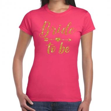 Goedkope bride to be gouden letters fun t shirt roze voor dames