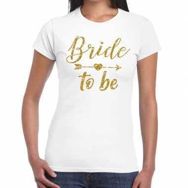 Goedkope bride to be gouden letters fun t shirt wit voor dames