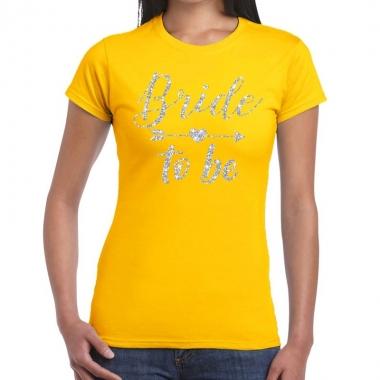 Goedkope bride to be zilveren letters fun t shirt geel voor dames