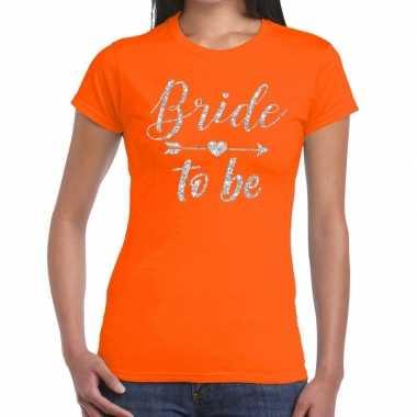 Goedkope bride to be zilveren letters fun t shirt oranje voor dames