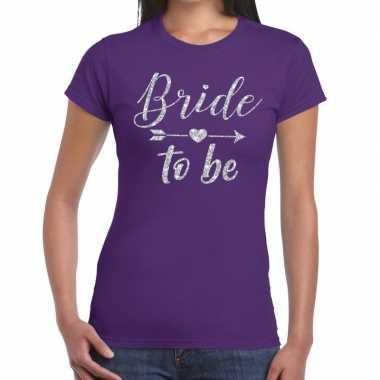 Goedkope bride to be zilveren letters fun t shirt paars voor dames