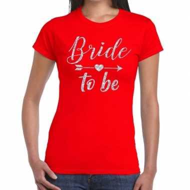 Goedkope bride to be zilveren letters fun t shirt rood voor dames