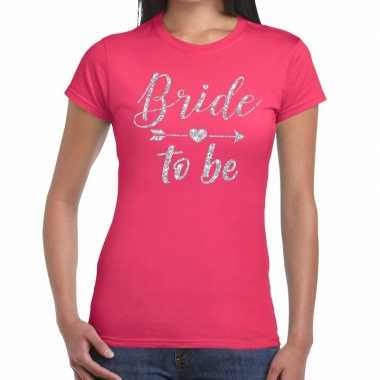 Goedkope bride to be zilveren letters fun t shirt roze voor dames