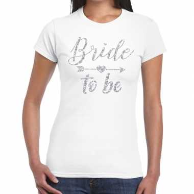 Goedkope bride to be zilveren letters fun t shirt wit voor dames