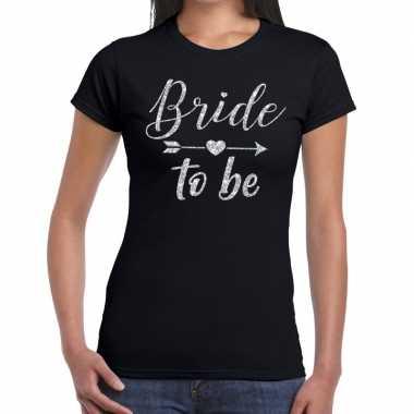 Goedkope bride to be zilveren letters fun t shirt zwart voor dames
