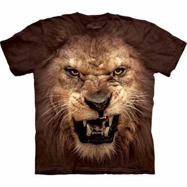 Goedkope bruin realistisch leeuwen t shirt