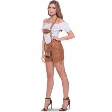 Goedkope bruine bierfeest oktoberfest lederhosen kort broekje verkleedkleren voor dames