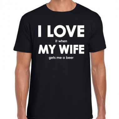Goedkope cadeau t shirt bier liefhebber i love it when my wife gets m