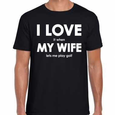 Goedkope cadeau t shirt golf liefhebber i love it when my wife lets m
