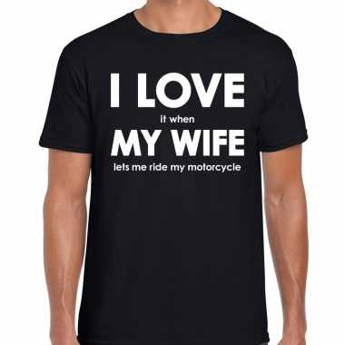 Goedkope cadeau t shirt motorrijder i love it when my wife lets me ri