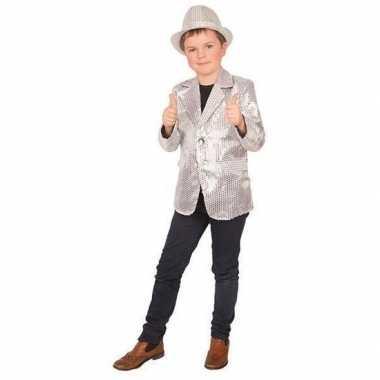 Goedkope carnaval colbert jasje zilver voor kinderen