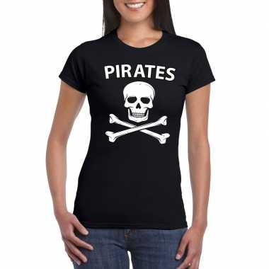 Goedkope carnaval piraten t shirt zwart dames