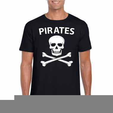 Goedkope carnaval piraten t shirt zwart heren