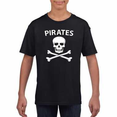 Goedkope carnaval piraten t-shirt zwart jongens en meisjes