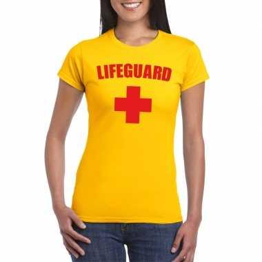 Goedkope carnaval reddingsbrigade lifeguard t-shirt geel dames