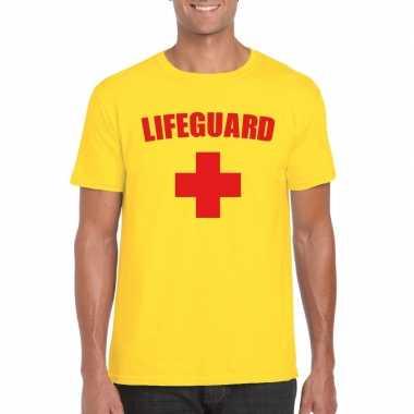 Goedkope carnaval reddingsbrigade lifeguard t-shirt geel heren