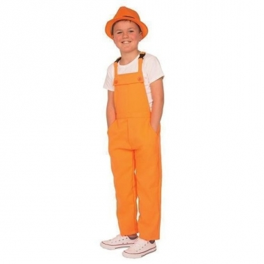 Goedkope carnaval tuinbroek oranje voor kinderen