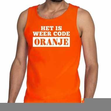 Goedkope code oranje mouwloos shirt / tanktop oranje heren