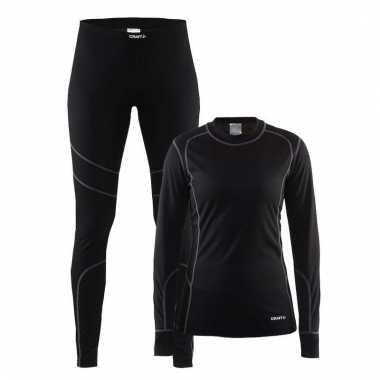 Goedkope craft thermo schaats ondergoed set zwart voor dames