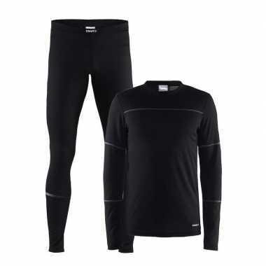 Goedkope craft thermo sportkleren ondergoed set zwart voor heren