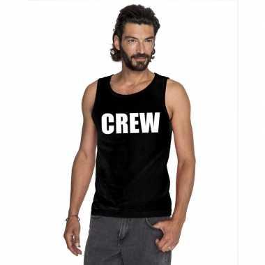 Goedkope crew mouwloos shirt zwart voor heren