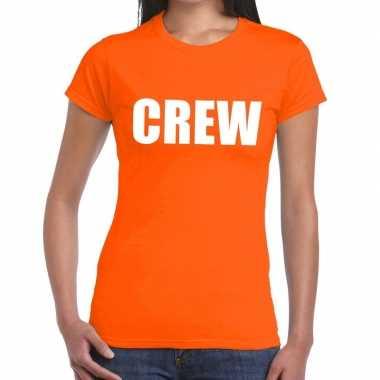 Goedkope crew t shirt oranje voor dames