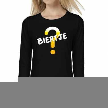 Goedkope dames fun text t shirt long sleeve biertje zwart