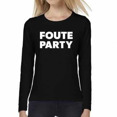 Goedkope dames fun text t shirt long sleeve foute party zwart