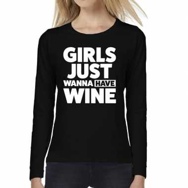 Goedkope dames fun text t shirt long sleeve girls just wanna have win