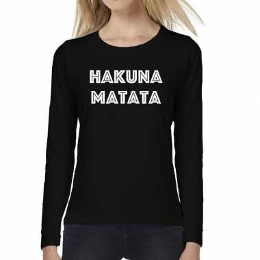 Goedkope dames fun text t shirt long sleeve hakuna matata zwart