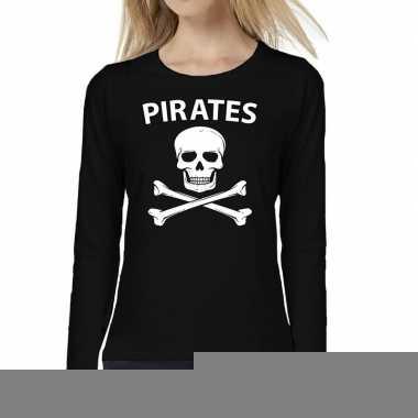 Goedkope dames fun text t shirt long sleeve pirates zwart