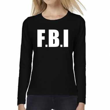 Goedkope dames fun text t shirt long sleeve politie fbi zwart