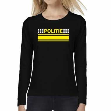 Goedkope dames fun text t shirt long sleeve politie logo zwart