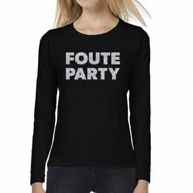 Goedkope dames long sleeve t shirt met foute party zilver glitter bed