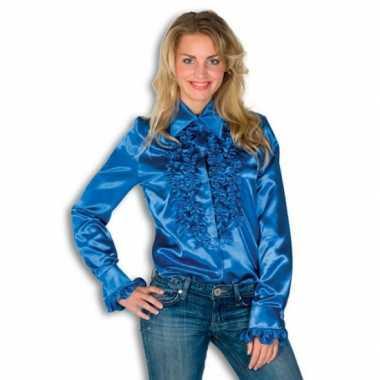 Goedkope dames rouche overhemd blauw