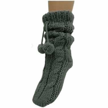 Goedkope dames sokken voor in huis antracietgrijs