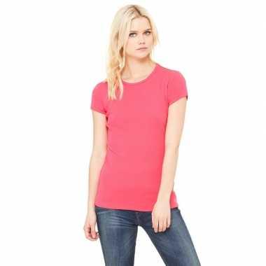 Goedkope dames t shirt fuchsia roze met ronde hals hanna