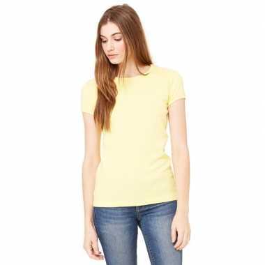Goedkope dames t shirt geel met ronde hals hanna