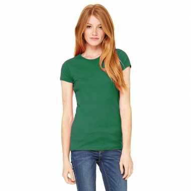 Goedkope dames t shirt groen met ronde hals hanna