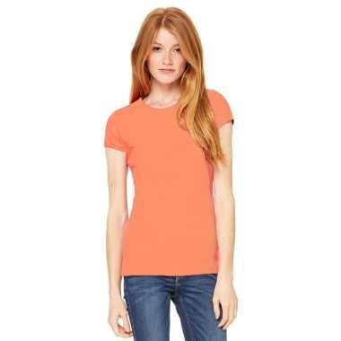 Goedkope dames t shirt koraal oranje met ronde hals hanna