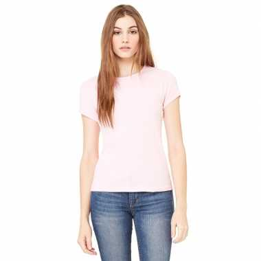 Goedkope dames t shirt licht roze met ronde hals hanna