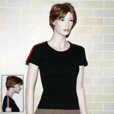 Goedkope dames t shirt met rood, wit , blauw
