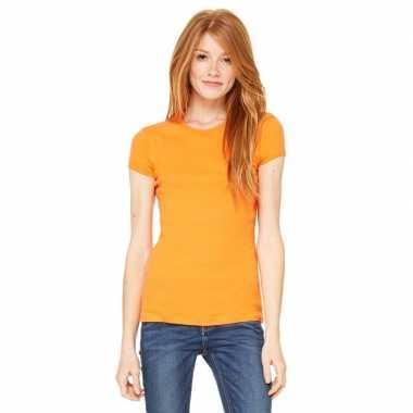 Goedkope dames t shirt oranje met ronde hals hanna