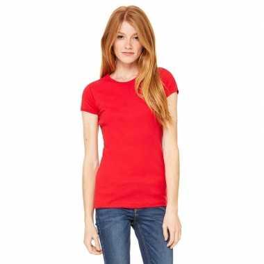 Goedkope dames t shirt rood met ronde hals hanna