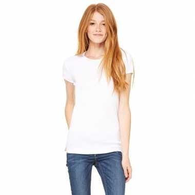 Goedkope dames t shirt wit met ronde hals hanna