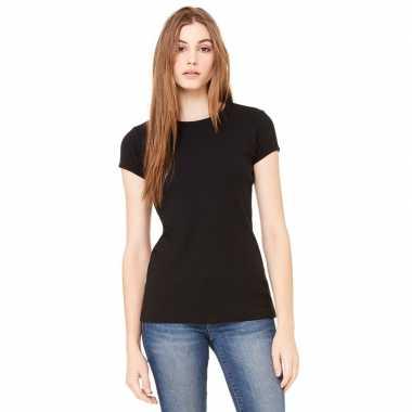 Goedkope dames t shirt zwart met ronde hals hanna