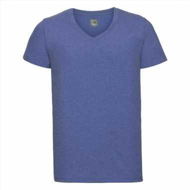 Goedkope denim blauwe heren t shirts met v hals
