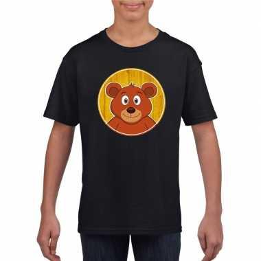 Goedkope dieren beer shirt zwart jongens en meisjes